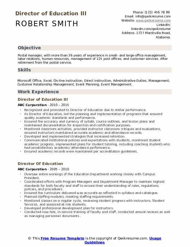 Director of Education III Resume Model