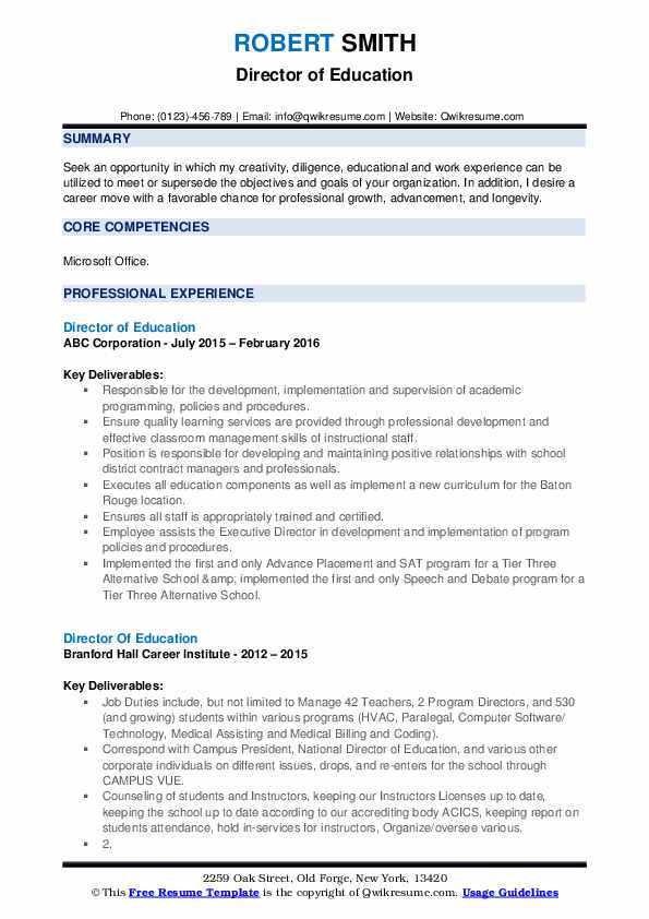 Director Of Education Resume example