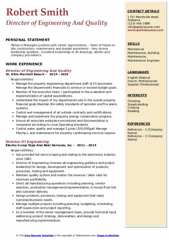 Director Of Engineering Resume Samples | QwikResume