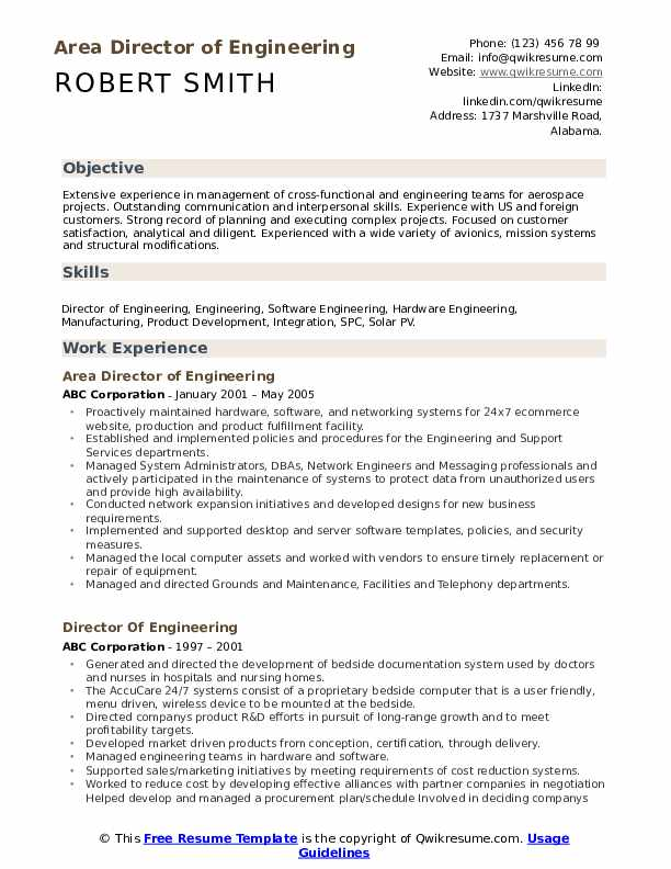 director of engineering resume samples