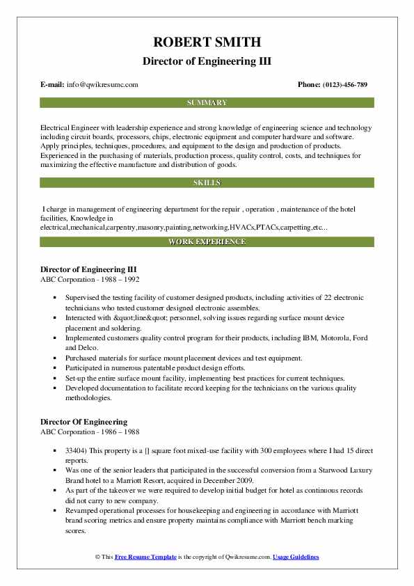 Director Of Engineering Resume Samples | QwikResume