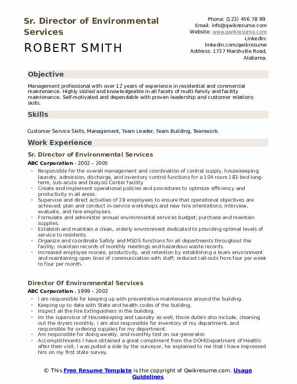 Sr. Director of Environmental Services Resume Example