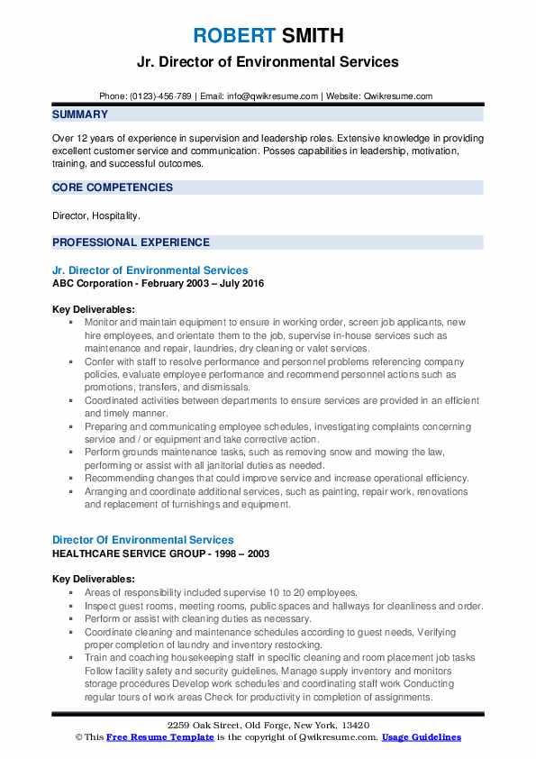 Jr. Director of Environmental Services Resume Format