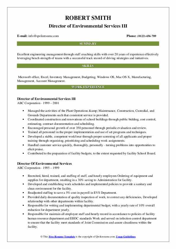 Director of Environmental Services III Resume Example