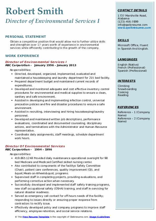 Director of Environmental Services I Resume Example