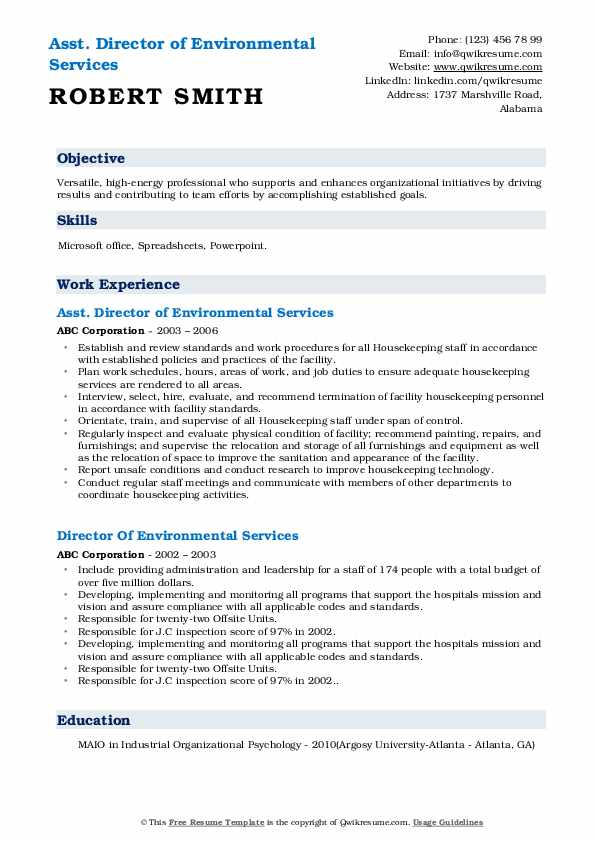 Asst. Director of Environmental Services  Resume Sample