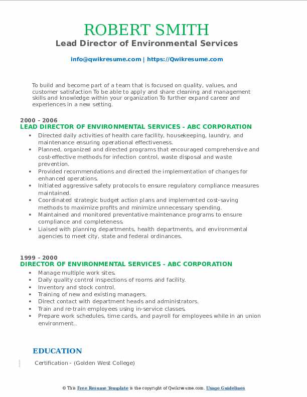 Lead Director of Environmental Services Resume Format