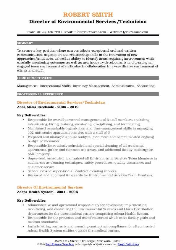 Director of Environmental Services/Technician Resume Format