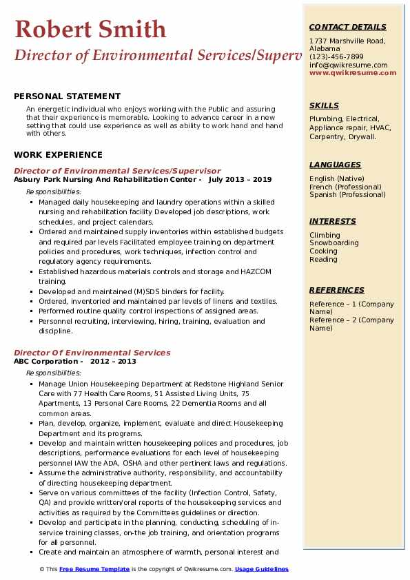 Director of Environmental Services/Supervisor Resume Template
