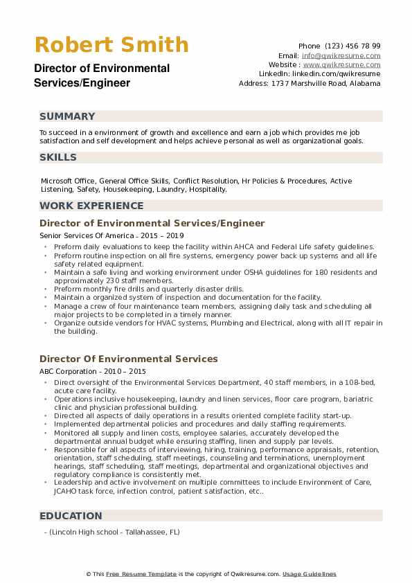 Director of Environmental Services/Engineer Resume Model