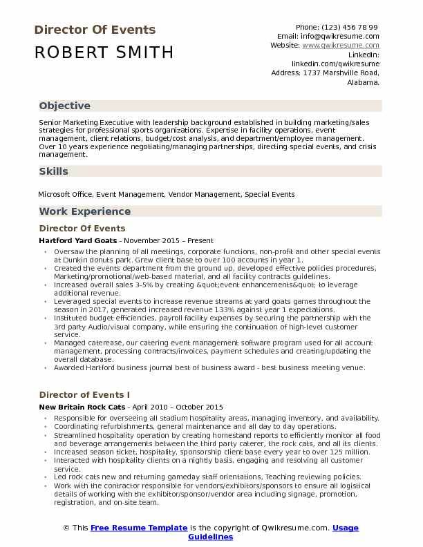 Director Of Events Resume Model