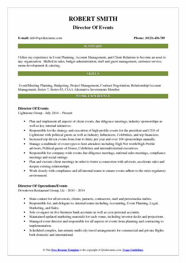 Director Of Events Resume Format