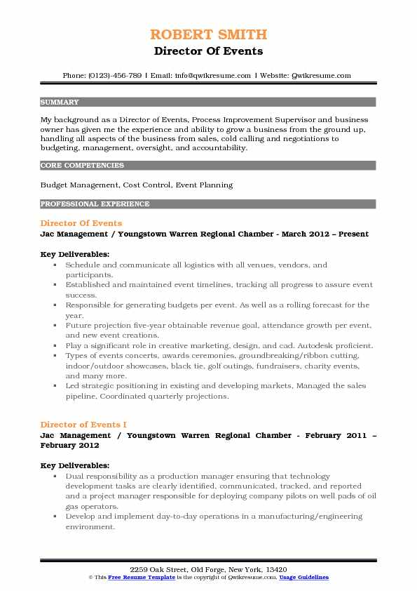 Director Of Events Resume Template