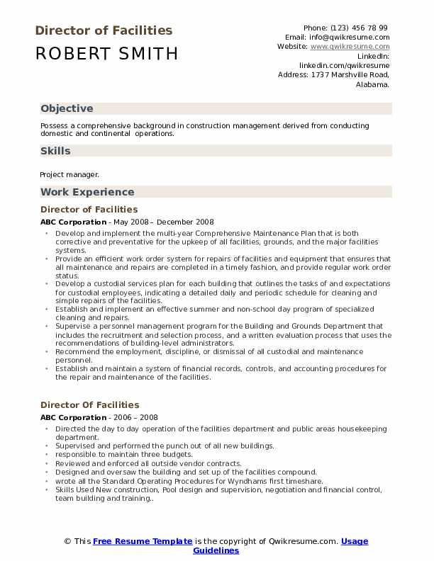 Director of Facilities Resume Sample