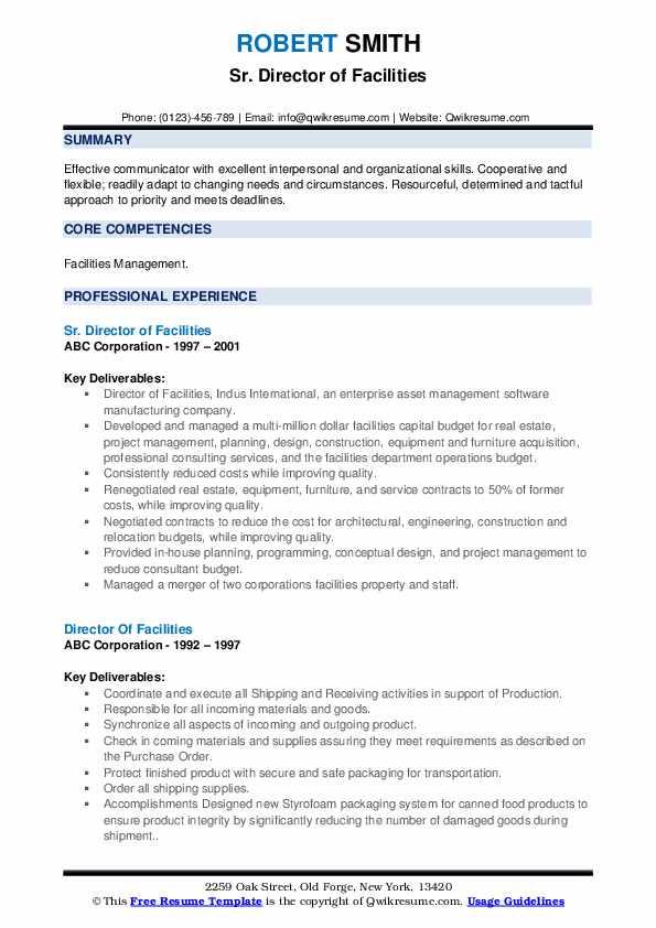 Sr. Director of Facilities Resume Format