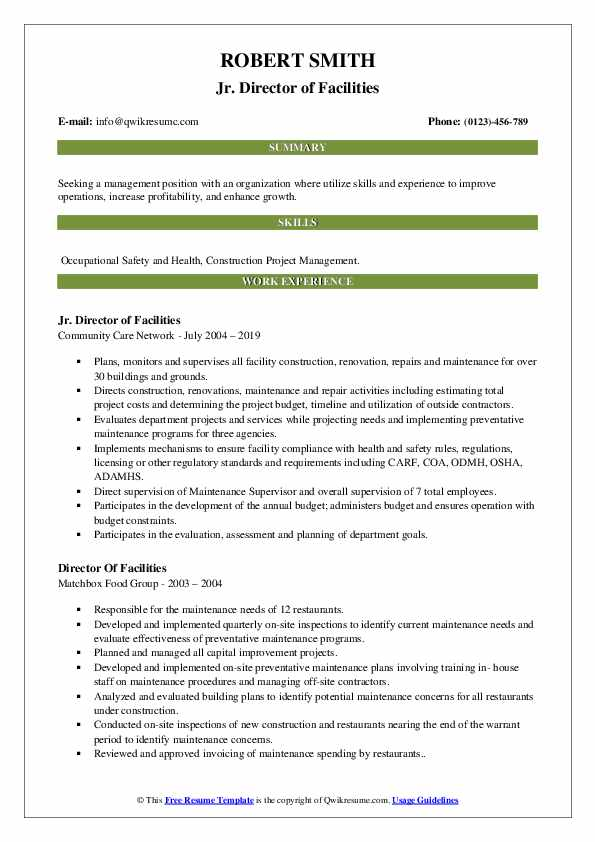 Jr. Director of Facilities Resume Example