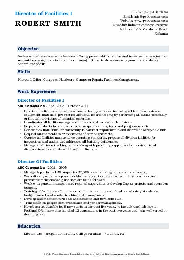 Director of Facilities I Resume Template