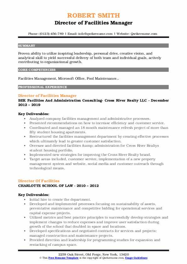 Director of Facilities Manager Resume Template