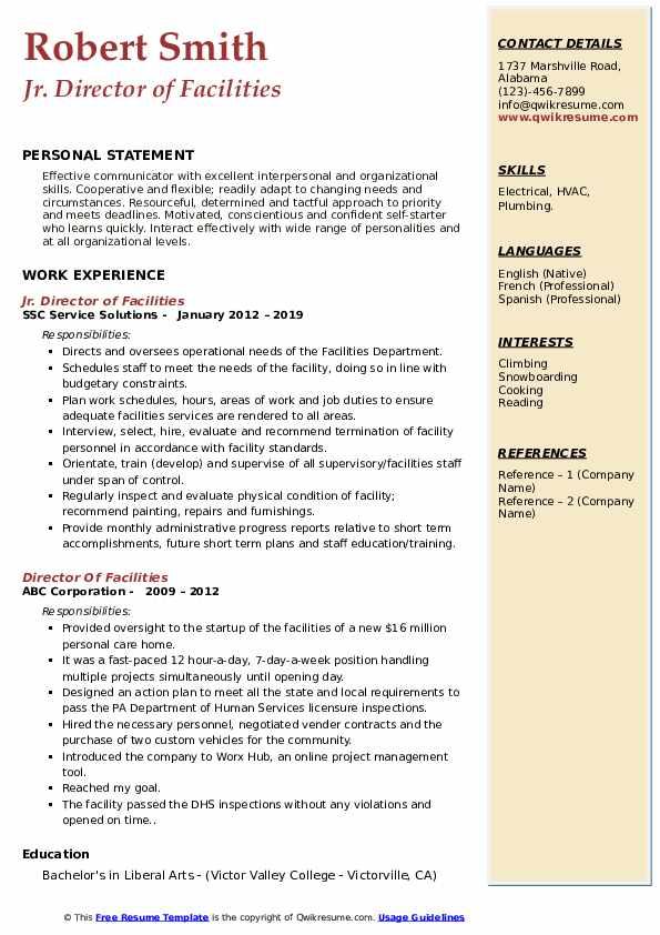 Jr. Director of Facilities Resume Format