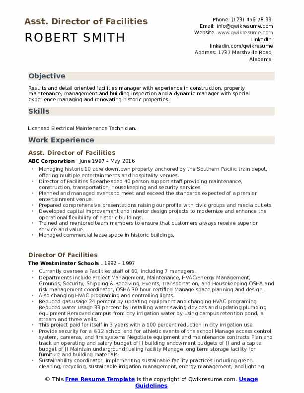 Asst. Director of Facilities Resume Example