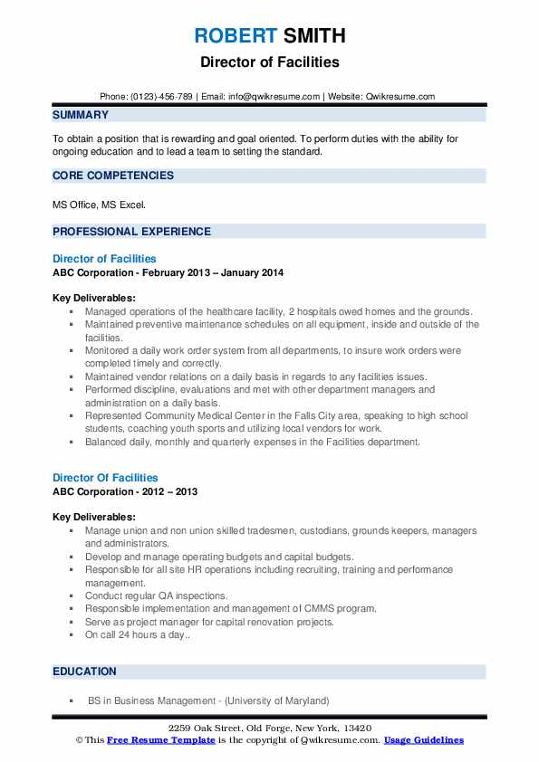 Director Of Facilities Resume example