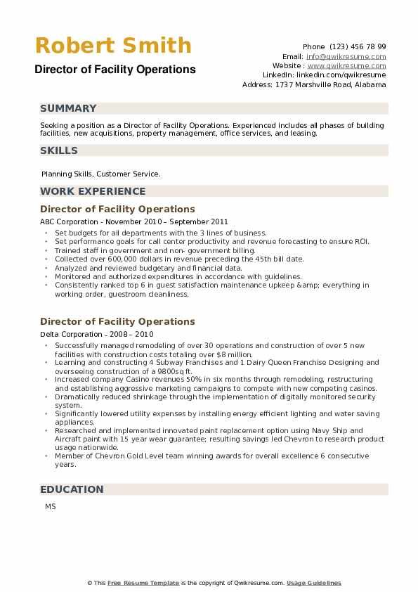 Director of Facility Operations Resume example