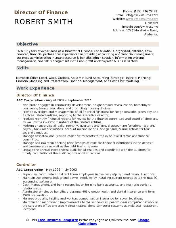Director Of Finance Resume Samples | QwikResume