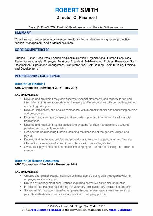 Director Of Finance I Resume Template
