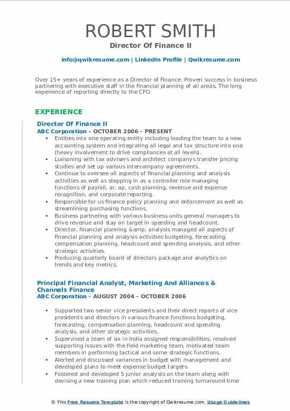 Director Of Finance II Resume Model