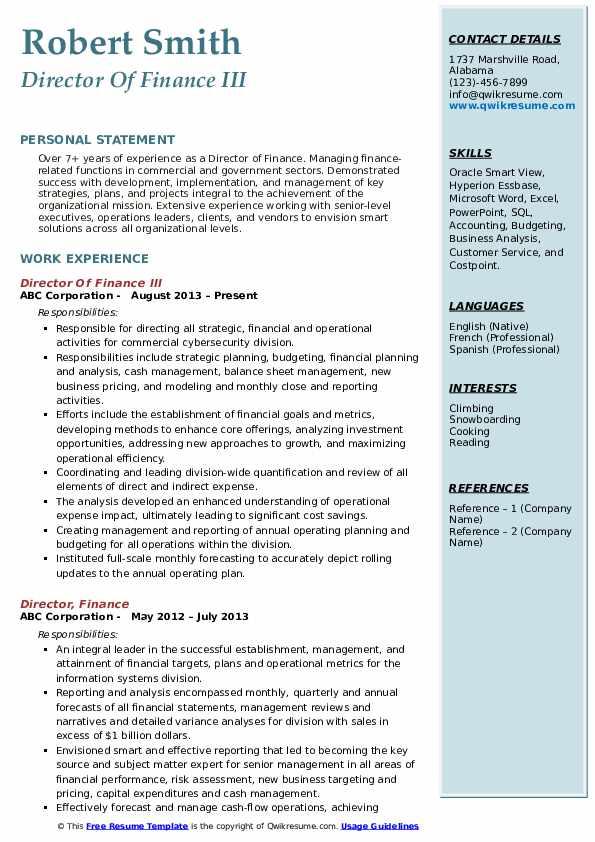 Director Of Finance III Resume Example
