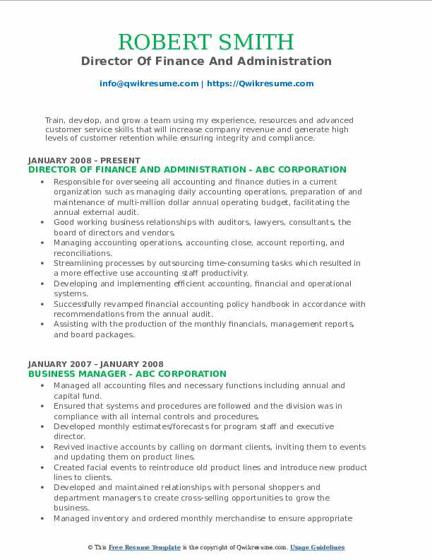 Director Of Finance And Administration Resume Format