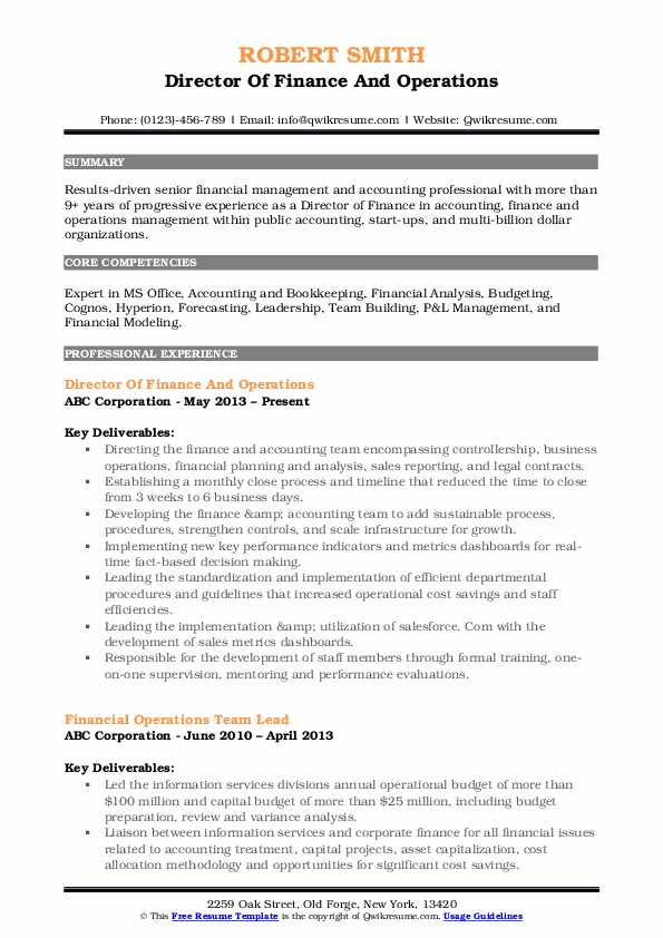 Director Of Finance And Operations Resume Template