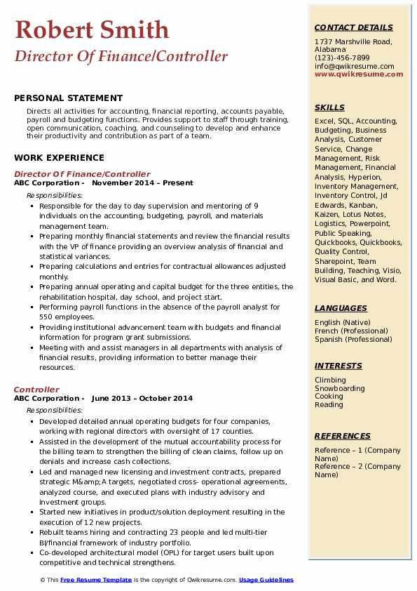 Director Of Finance/Controller Resume Model