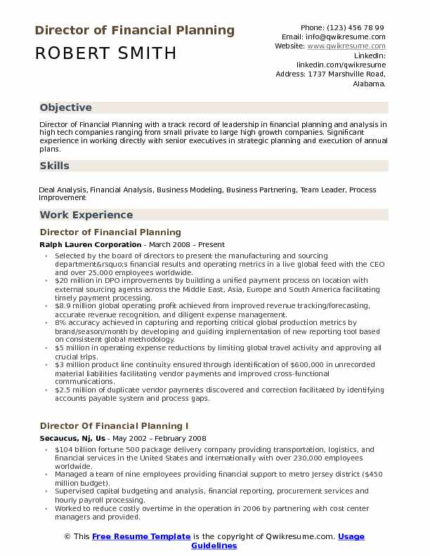 Director of Financial Planning Resume Sample