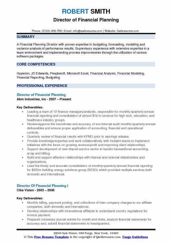Director of Financial Planning Resume Format