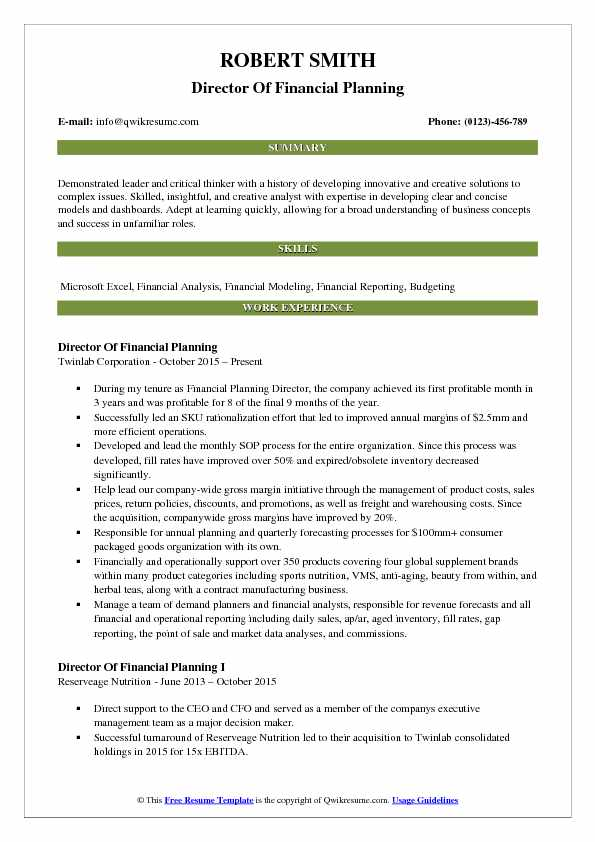 Director Of Financial Planning Resume Template