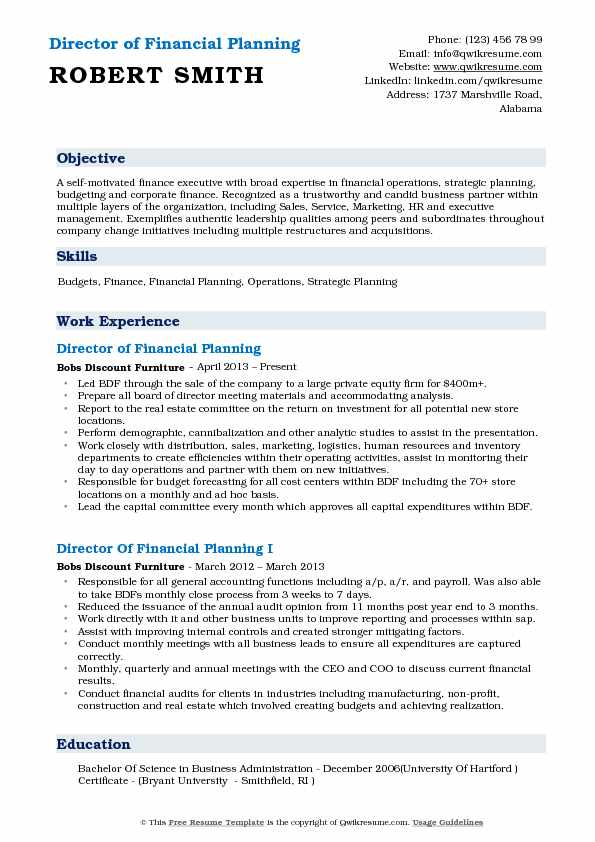 Director of Financial Planning Resume Model
