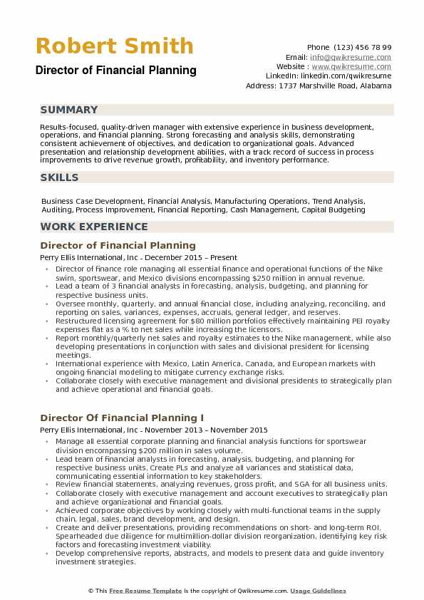 Director of Financial Planning Resume example