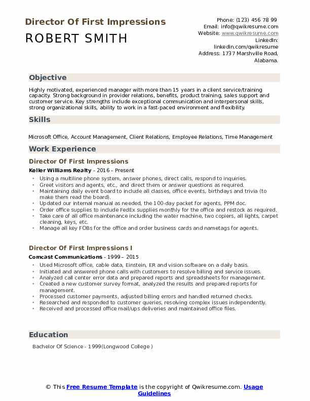 Director Of First Impressions Resume Template