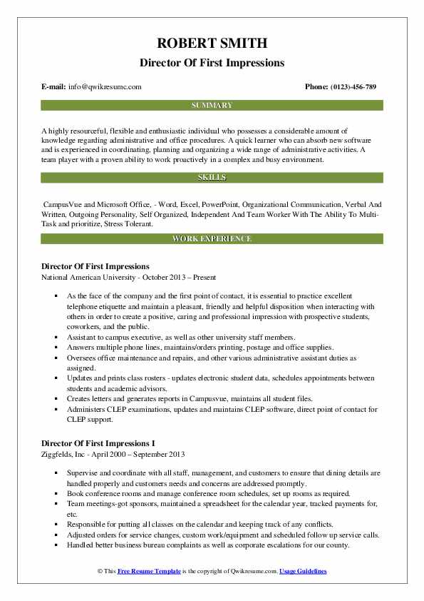 Director Of First Impressions Resume Example