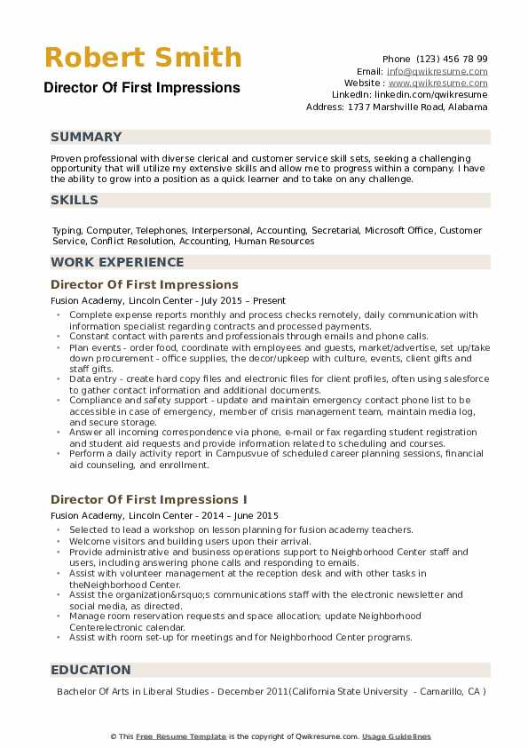 Director Of First Impressions Resume Samples Qwikresume