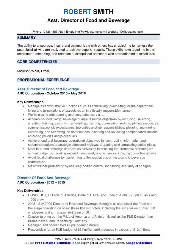 Asst. Director of Food and Beverage Resume Example