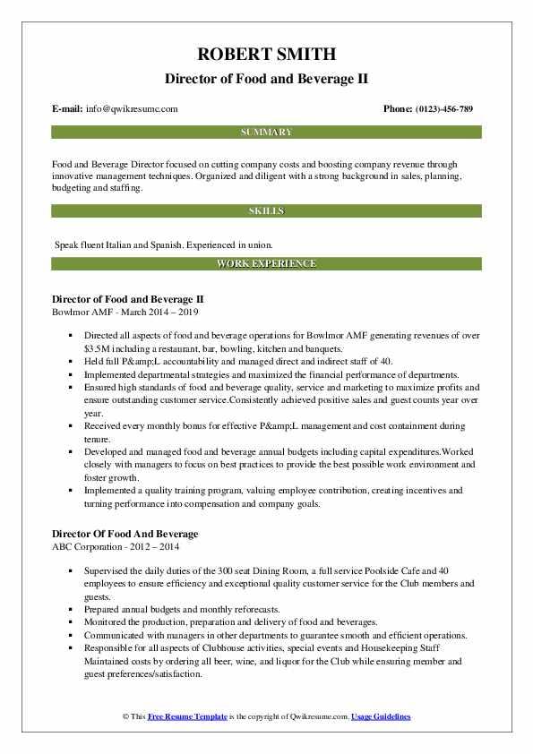Director of Food and Beverage II Resume Example