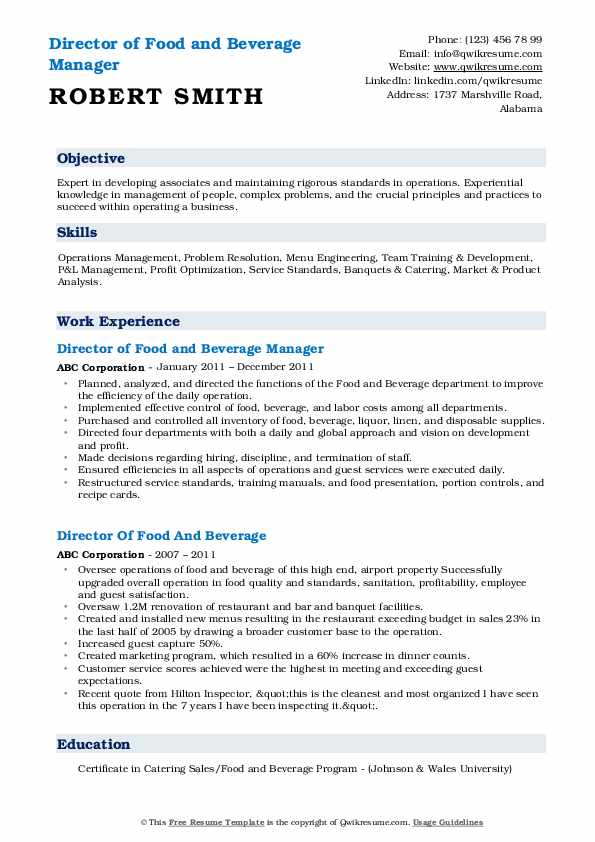 Director of Food and Beverage Manager Resume Sample