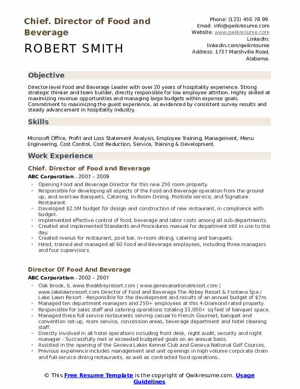 Chief. Director of Food and Beverage Resume Sample