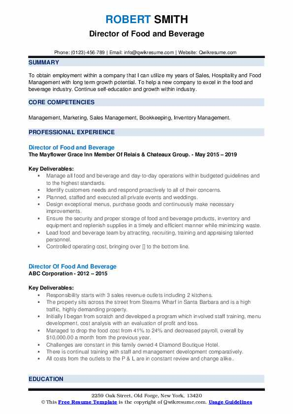 Director Of Food And Beverage Resume Samples Qwikresume