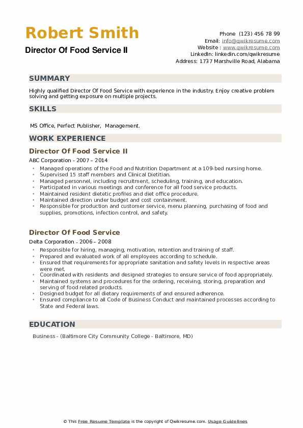 Director Of Food Service Resume example