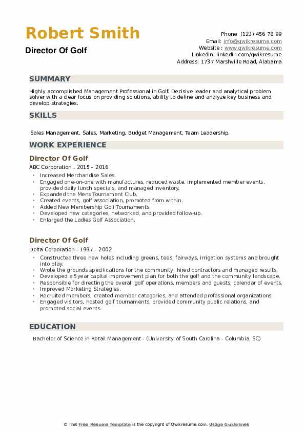 Director Of Golf Resume example
