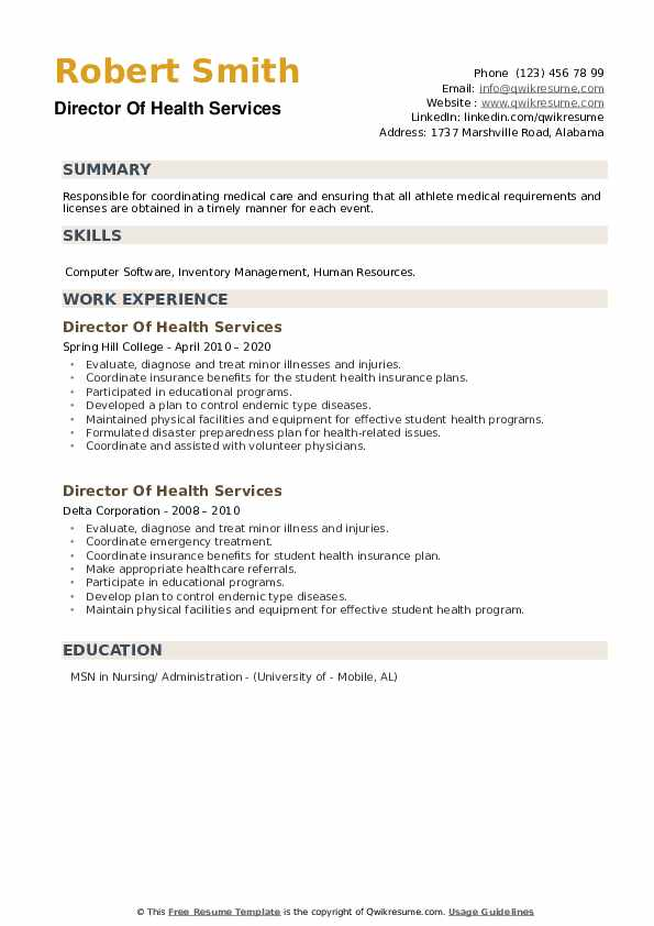Director Of Health Services Resume example
