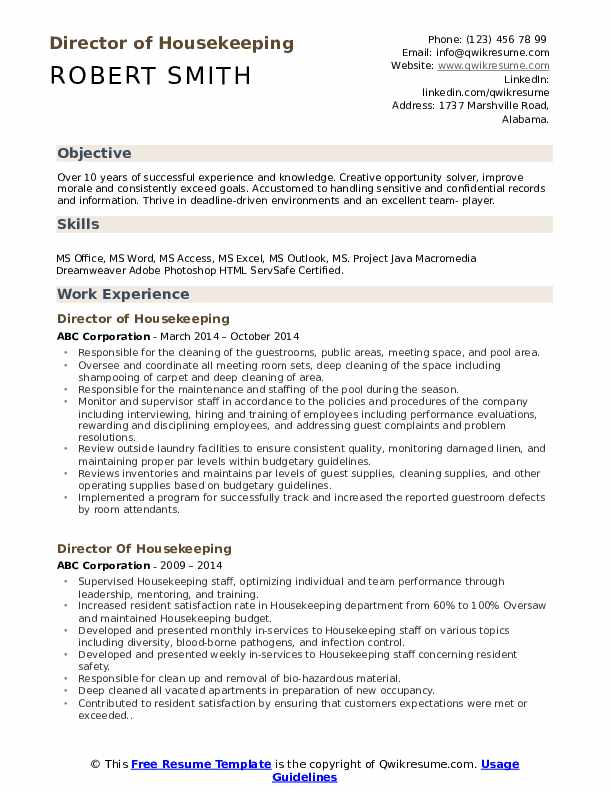 Director of Housekeeping Resume Sample